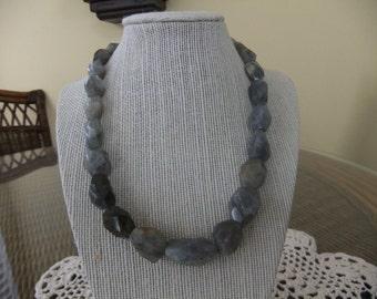 Gray Labradorite Beaded Necklace