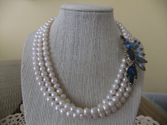 Pearl Necklace with  Vintage Blue Rhinestone Brooch