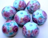 Pretty Round Blue Lampwork Beads With Rosettes