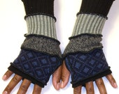 Fingerless Gloves For Guys, Arm Warmers, Black, Navy Check, Dark  Gray Tweed, Ribbed Light Gray, Black, Light Blue