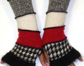 Fingerless Gloves, Arm Warmers, Black Mohair, Black and White Angora Check, Red, Off White, Heather Grey, Black