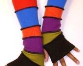 Fingerless Gloves, Arm Warmers, Black, Pistachio Green, Red Violet, Bright Orange, Blue, Red, Long