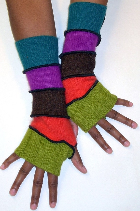 Arm Warmers, Fingerless Gloves, Apple Green, Red Orange, Burnt Sienna, Fuchsia, Dark Teal
