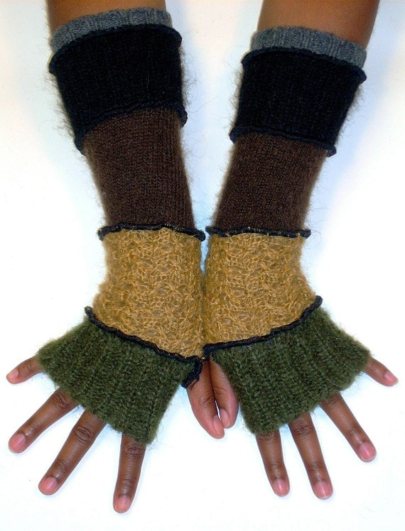 Fingerless Gloves, Arm Warmers, Mohair, Olive, Gold, Brown, Black and Grey