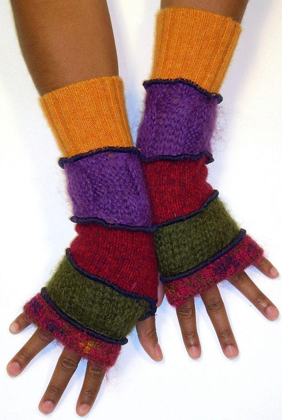 Fingerless Gloves , Berry Floral Print Mohair, Olive, Berry, Grape, Mango
