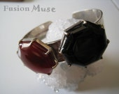 Cuff Bangle, Sterling Silver with Carnelian and Onyx,OOAK,(B94)