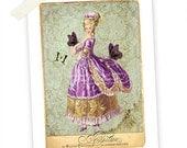 Marie Antoinette Art Print,  Giclee, Butterfly, Bustle, Damask Wallpaper, Purple, French, Vintage Fashion, Olive Green