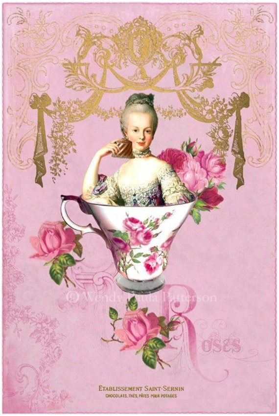 Marie Antoinette...High Tea...Petite Giclee Collage Print