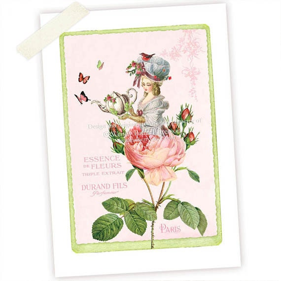 Marie Antoinette, Art Print, Giclee, Rose Garden, Tea Party, Garden Party, Pink Shabby, Vintage Style, Collage