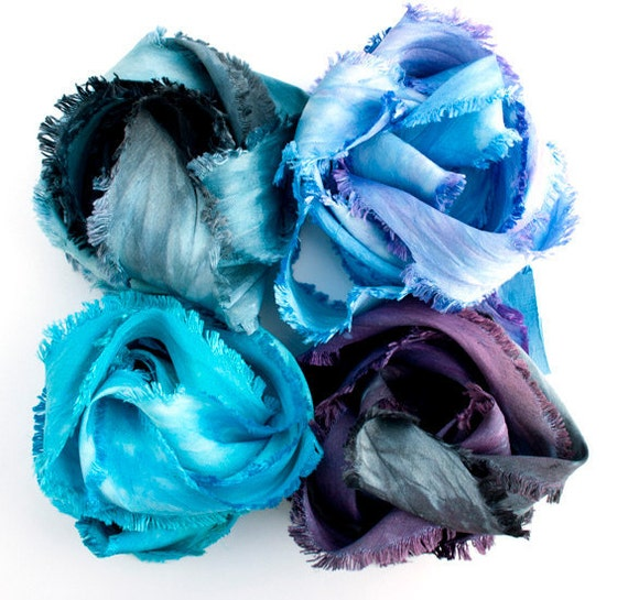 SowZerE - Blue/purples selection  Four new 'Raggy Ribbons' -hand made/hand dyed variegated pure silk ribbons