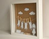 Washing cats - - Original paper diorama - Shadow box