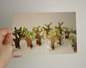 Hide and Seek - Set of 4 postcards - Photo print - Paper diorama