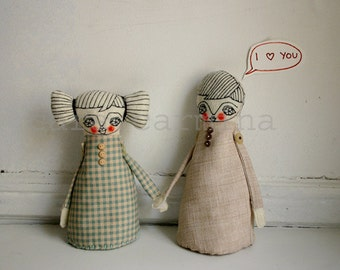 Valentines - I love you  - photo print - dolls in love - letter size