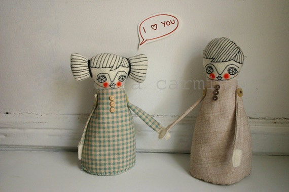 Valentines - She loves you - photo print - dolls in love letter size