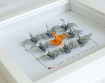 Origami hand folded cranes picture