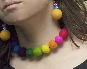 Felted rainbow  necklace