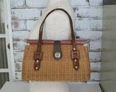Vintage Wicker Wood and Leather Handbag British Hong Kong