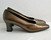 Size 9 AA Dark Bronze Ferragamo Pumps Gray Heels