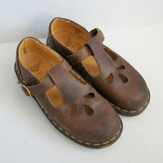 Size 6 Doc Dr. Martens Brown Mary Jane Shoes England UK 4