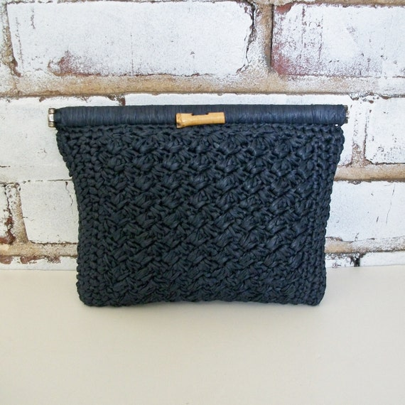 Vintage Pappagallo Navy Blue Woven Straw Clutch Handbag