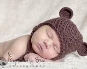 Chocolate Brown Bear Ears Crochet Beanie with Earflaps - custom size