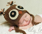 Brown Owl Crochet Ear Flap Hat Made to Order You Choose Size Newborn - 18m