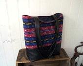 SALE Black leather ikat tote bag - eco vintage fabrics