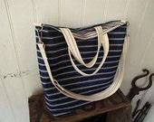 SALE Indigo stripe denim tote - eco vintage fabrics