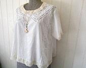 SUMMER SALE Recycled antique cotton lawn & lace blouse - eco vintage