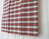 Tartan selvedge pocket square, handkerchief - eco vintage fabric