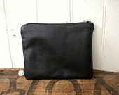 Black leather pouch, clutch - eco recycled vintage