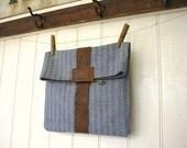 Recycled herringbone denim leather utility pouch, clutch, iPad case - eco vintage fabric