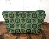 Pouch, utility bag, forest green coral pink - eco vintage fabrics