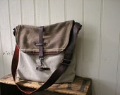 Mexican blanket & leather messenger, day bag - eco vintage fabrics