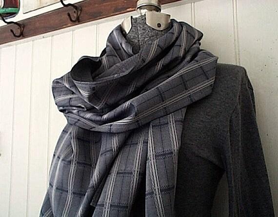 Selvedge grey stripe plaid scarf, cotton - extra long - eco vintage fabric - last one