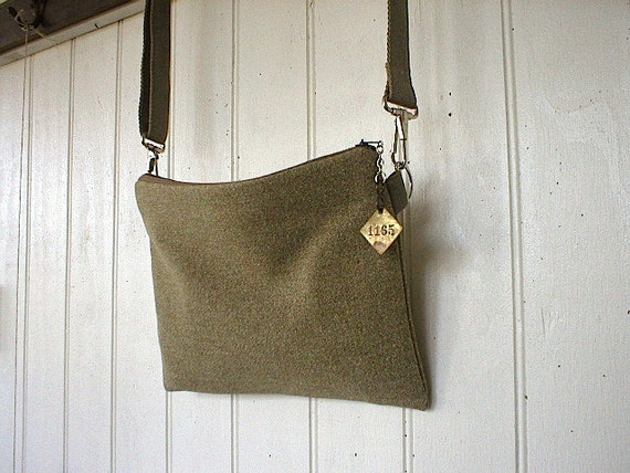 SALE Recycled military wool messenger day bag, olive brown - clutch convertible - eco vintage fabrics