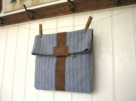 Recycled herringbone denim leather utility pouch, clutch, iPad case - eco vintage fabric