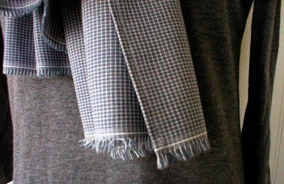 RESERVED for J. Bandana, blue grey micro check selvedge - eco vintage fabric