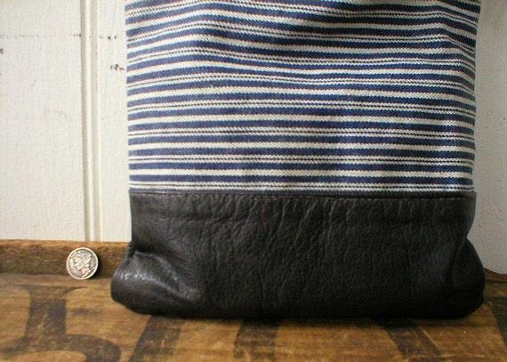 Waxed denim & leather pouch, indigo stripe - eco vintage fabrics