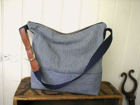 Indigo stripe denim day bag, messenger adjustable strap - eco vintage fabrics