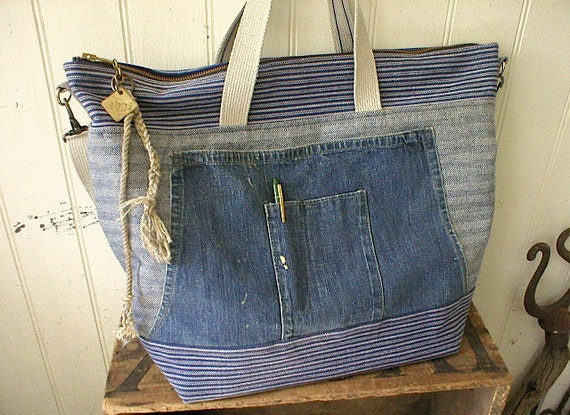 RESERVED for J. only,  Second 1/2 payment, Indigo stripe selvedge denim carryall bag, satchel w/ strap - eco vintage fabrics