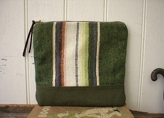 Mexican blanket & canvas pouch, clutch - eco vintage fabrics