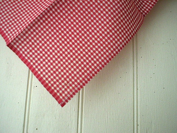slight 2nd Selvedge red gingham pocket square - eco vintage fabric - last one