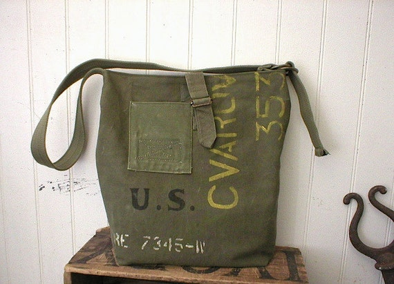 Recycled military canvas messenger, carryall bag - eco vintage fabrics
