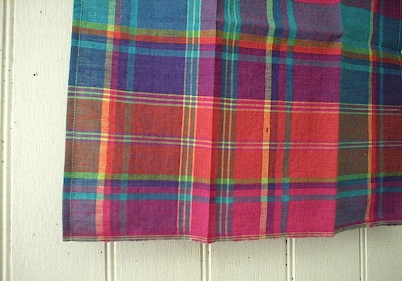 Selvedge madras plaid pocket square, handkerchief - eco vintage fabric - last one