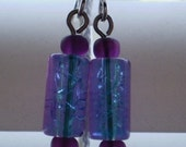 Tri-color glass bead earrings