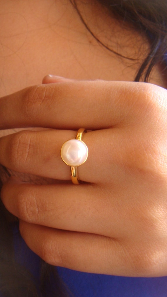 Classic Pearl Ring- Made to order 18k gold plated sterling silver and freshwater pearl ring.
