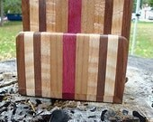 Handmade Exotic Wood Coaster with Caddy Set - Black Walnut & Purpleheart