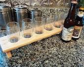 Personalized Laser Engraved Handmade Wood Mini Brew Beer Sampler 6 - The Naked - Maple Custom Gift