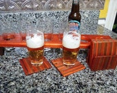 Personalized Beer Flight and Coaster Set - Engraved Custom Gift